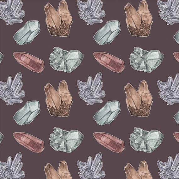 Crystals and Minerals Pattern Illustration 5x5 Giclée Print