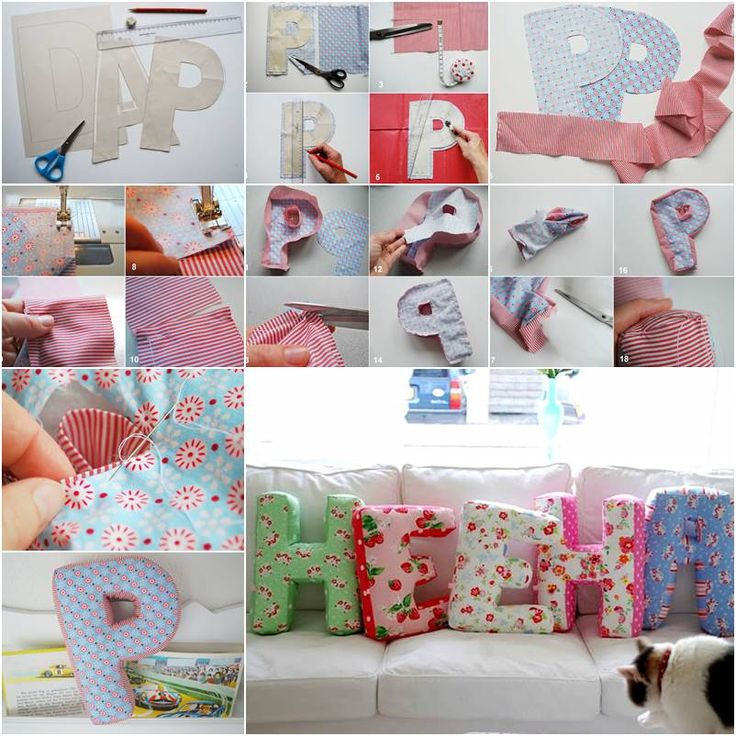 DIY Fabric Alphabet Letter Cushion | iCreativeIdeas.com Follow Us on Facebook --> www.facebook.com/iCreativeIdeas