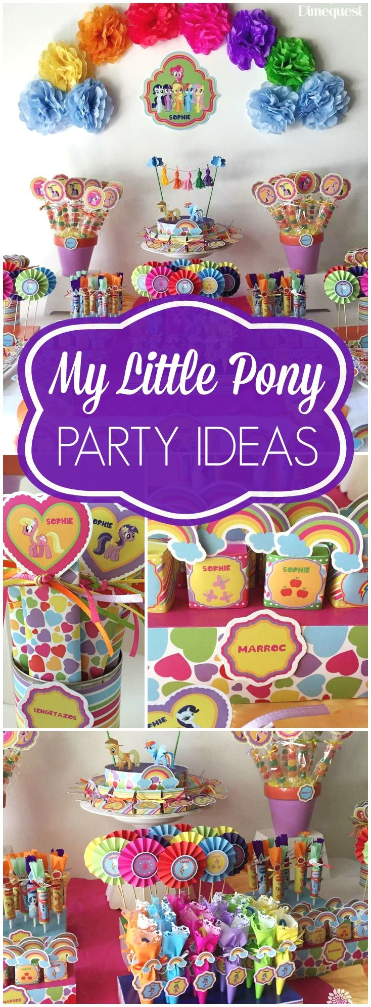 Check out this My Little Pony party in all the colors of the rainbow! See more party ideas at CatchMyParty.com!