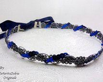 Serre-tête festif bleu marine argent Satin cravate Boho Style déesse grecque romaine égyptien cheveux vacances en Grèce formelle Sequin argent Casual Prom