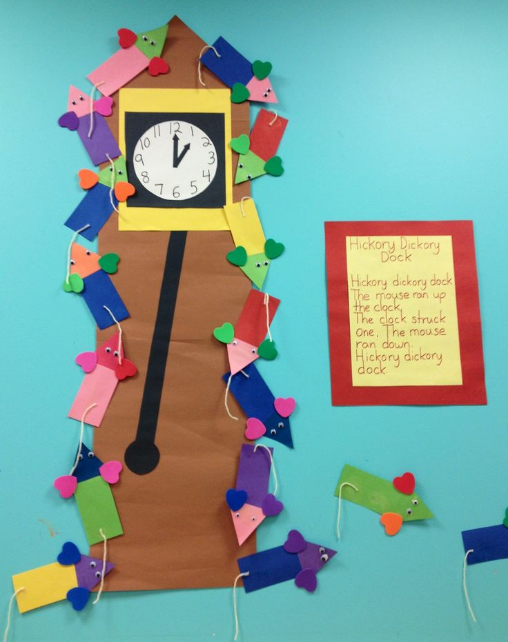 bulletin board idea: Hickory Dickory Dock (children create the mice)