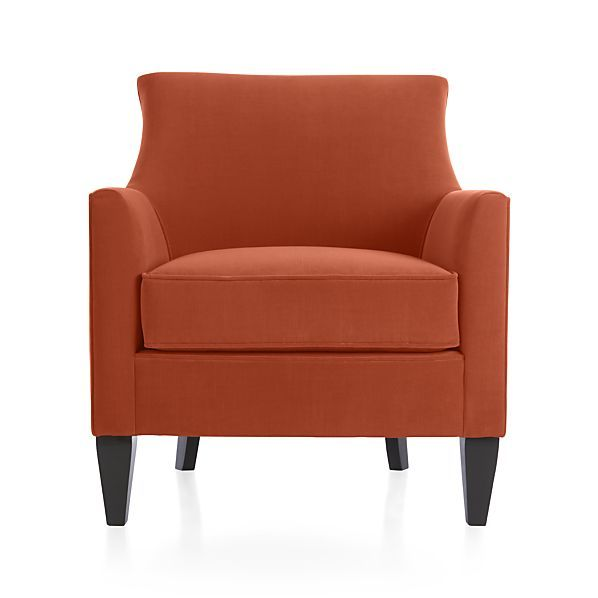 our elegant parlor chair shines in sunset orange offering
