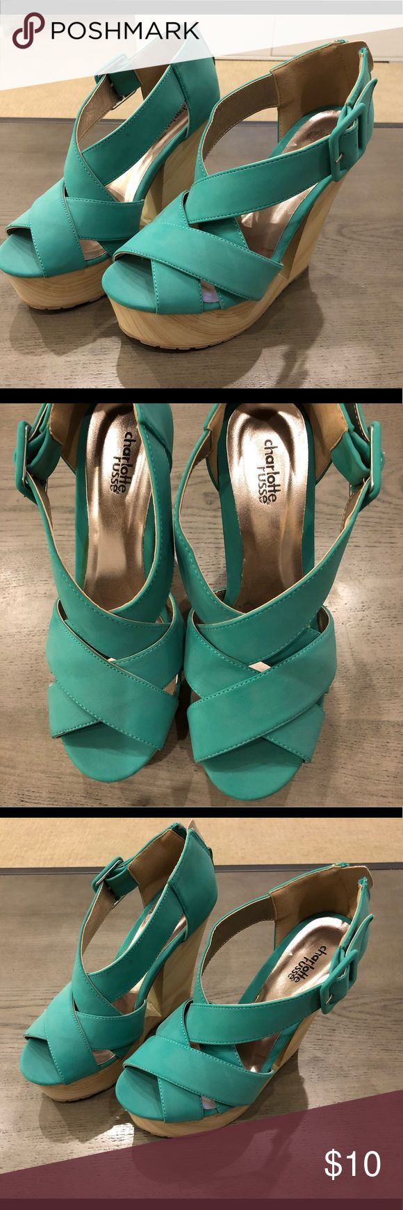 Teal wedges Preowned like new Size 8, Charlotte Russe teal wedges in excellent condition. Charlotte Russe Shoes Wedges