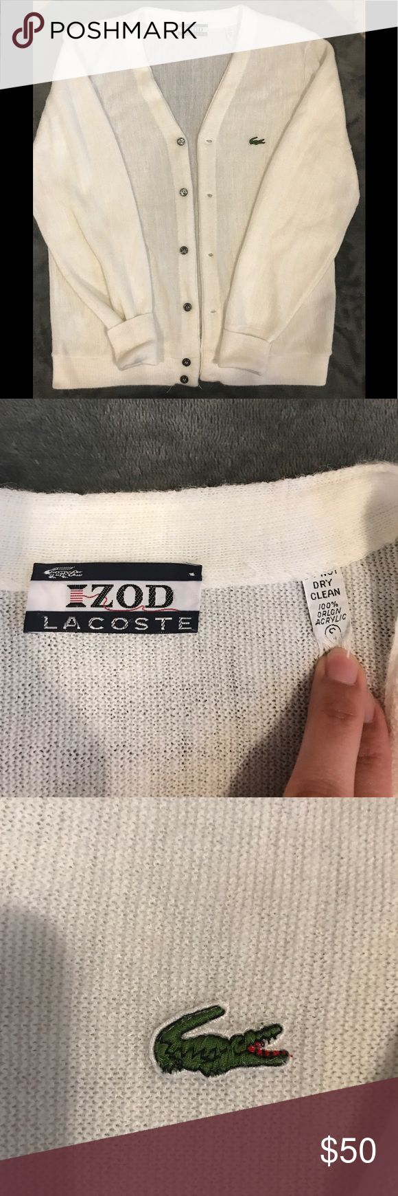 Vintage IZOD Lacoste Cardigan Vintage Lacoste men's white cardigan. Really excellent condition and a classic. Approximately 23 1/2 in length. Lacoste Sweaters Cardigan