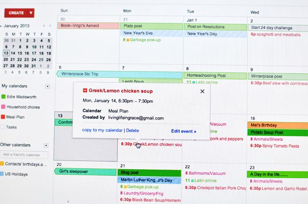 Electronic Calendar Planner : Meal planning blues try using google calendar or your