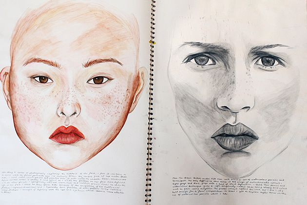 This A Level Art sketchbook page by Robyn Yeang is another example of composition at its purist. Two drawings – trailing away and fading out around the edges – both commanding the attention of the assessor, without superfluous decoration, enlarged headings, or busy page layouts.