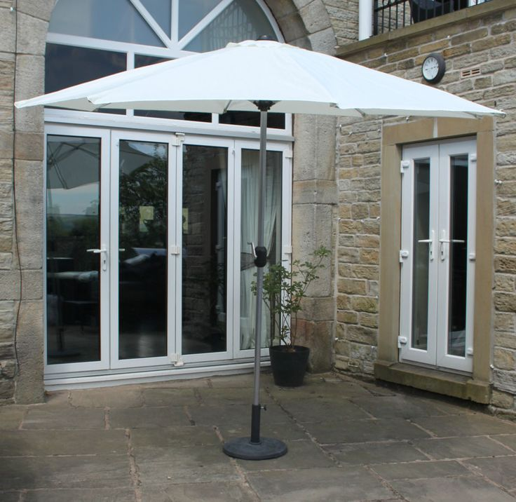 Garden Parasol with Base 3m Cream with Aluminium Frame Garden Furniture these ones with cranks are good - cant adjust angle of parasol tho