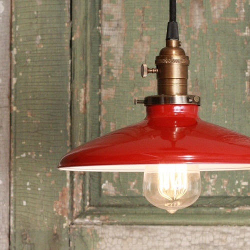 Pendant Light With Red Enamel Shade by Lucent Lampworks - traditional - pendant lighting - Etsy