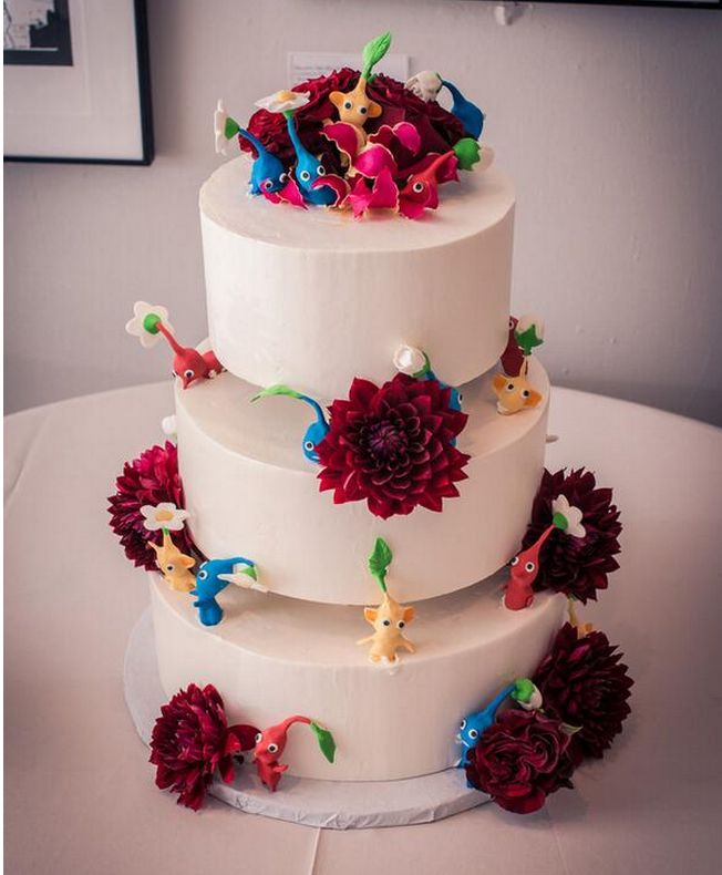 Wedding Cake Covered With Pikmin