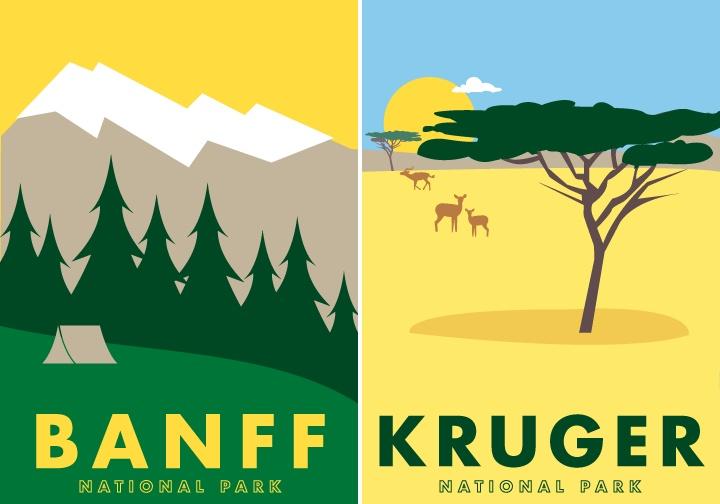 Banff National Park and Kruger National Park
