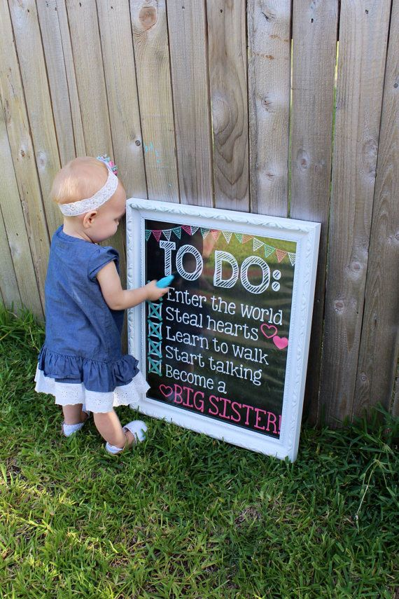 Pregnancy Announcement Chalkboard Poster // To Do List // Big Sister by PersonalizedChalk, $10.00