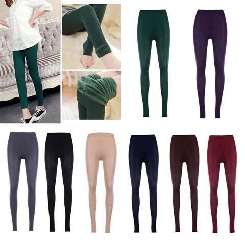 c56f894797c8bf Women Winter Warm Leggings Elastic High Waist Slim Plus Size Velvet Thicken  Warm Legging Thick Trousers Female 8 Colors Cacual
