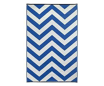 Outdoor-Teppich Laguna, weiß/blau, 90 x 150 cm