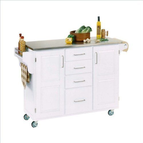 Home Styles 9100-1022 Create-a-Cart 9100 Series Cuisine Cart with Stainless Steel Top, White, 52-1/2-Inch by Home Styles. $456.78. This home styles 9001 series cuisine kitchen cart is a unique and refreshing solution for kitchen utility. Measures 48-inch width by 17-3/4-inch depth by 35-1/2-inch height. Available in white finish. This cart is having four utility drawers and two cabinets, each with an adjustable shelf. Made of solid wood, natural asian hardwood with stainless ...