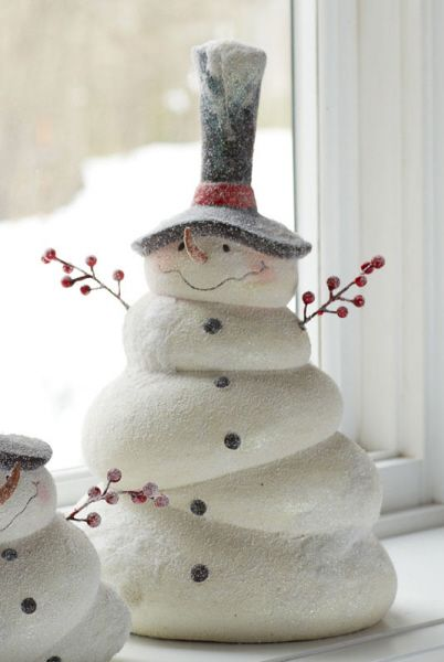 """overweight"" snowman........maybe make in mache clay"