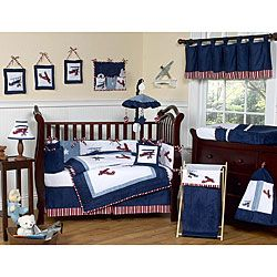 @Overstock - This aviator themed nine piece baby bedding set was created by Sweet Jojo Designs. This set includes a blanket, crib bumper, crib skirt, fitted sheet, toy bag, decorative throw pillow, diaper stacker, and two window valances. http://www.overstock.com/Baby/Sweet-Jojo-Designs-Aviator-9-piece-Crib-Bedding-Set/5298424/product.html?CID=214117 $179.99