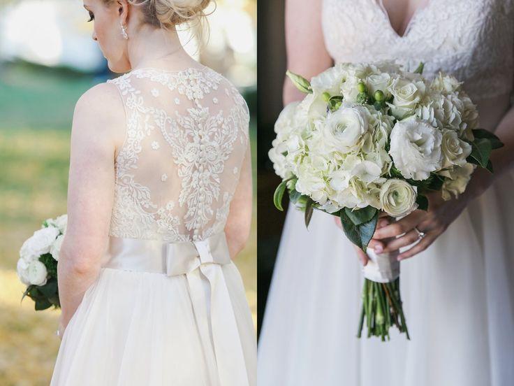 Lace Back Wedding Gown White Flowers Kansas City Kc