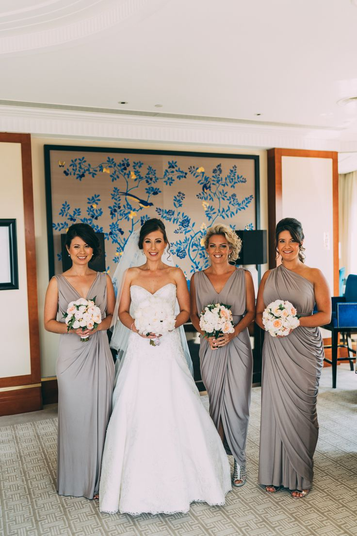 Our gorgeous bride Carmela chose mismatched bridesmaid dresses for her girls. Her bridesmaids looked stunning in our Dionne (custom made with no sleeves), Bridgette and Ingrid Dresses in Latte.
