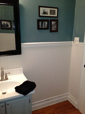 the beadboard in this picture is actually paintable textured wallpaper - Allen & Roth brand from Lowe's
