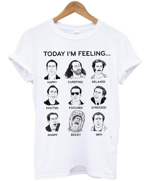 ddc228180 Nicolas Cage Emotions Funny T-Shirt | Kleidung | Nicolas cage, T ...