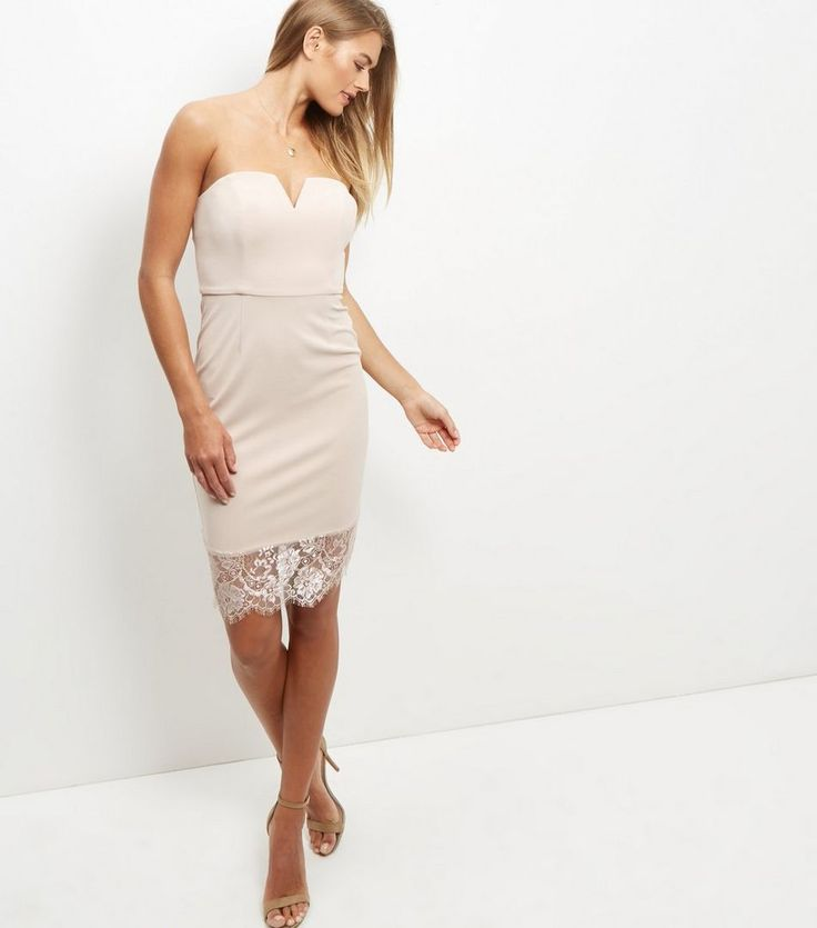 Shell Pink Bandeau Lace Hem Bodycon Dress  | New Look