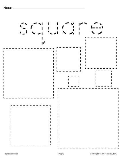 FREE preschool tracing shapes worksheets. Includes a square tracing worksheet plus 11 other shapes tracing worksheets. Great for toddlers too! Get them all here --> http://www.mpmschoolsupplies.com/ideas/7545/12-free-shapes-tracing-worksheets/