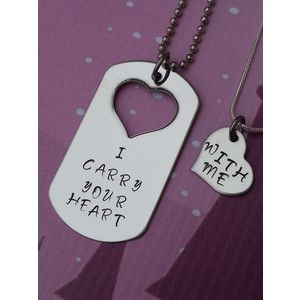 Cute Matching Couples Hoodies   Custom Hand Stamped Matching Necklace Set - I Carry Your Heart - With ...