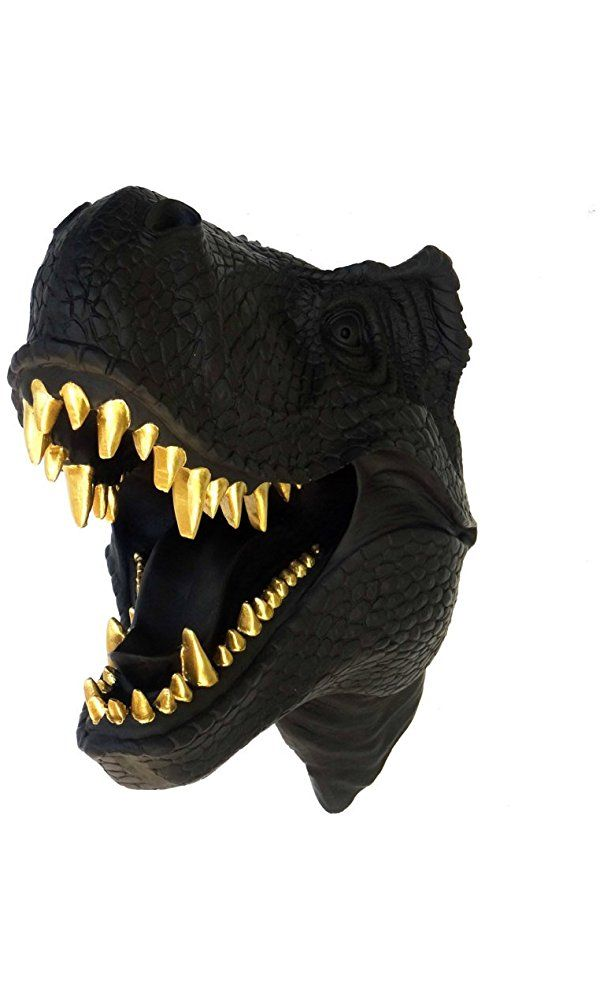 T-Rex Dinosaur Head Wall Mount - Black with Gold Teeth - Dinosaur Faux Taxidermy TX1708 Best Price