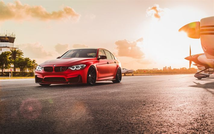 Download wallpapers BMW M3, 2017, F80, red sedan, tuning, black wheels, red M3, BMW