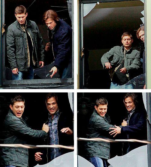 Jensen and Jared...throwing glass at Misha six stories below. idjits - Working hard on the set I see...
