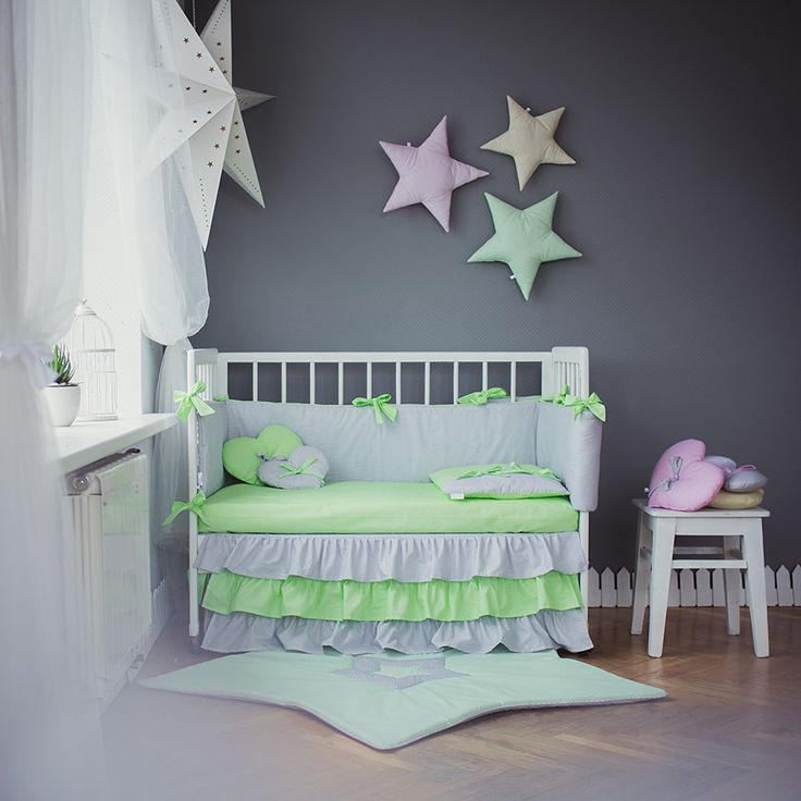 Crib bedding Grey Green Baby bed sets - Green Moonlight handmade nursery bedding - Gingham green and gray lace and ruffles by CotandCot on Etsy