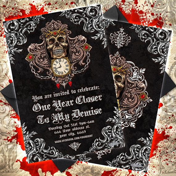 Custom Gothic Birthday Party Invitation Card Horror Birthday Card For Macabre Minds And Birthday Invitations Birthday Ideas For Her Birthday Card Printable