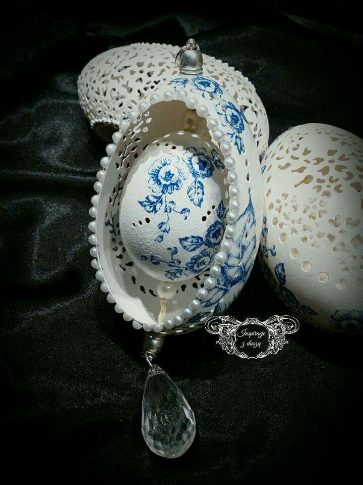 Carved eggshell & decoupage