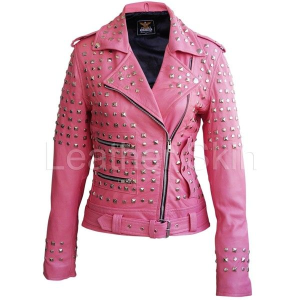 Leather Skin Women Pink Studded Studs Genuine Leather Jacket ❤ liked on Polyvore featuring outerwear, jackets, pink jacket, 100 leather jacket, studded jacket, leather jackets and pink leather jackets