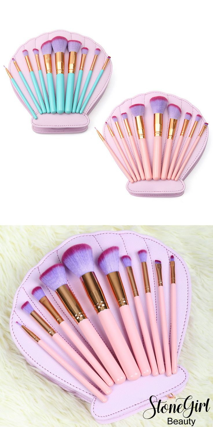 This makeup brush set includes 10 gorgeous brushes in a pale pink or turquoise color handle with a rose gold accent. Included are all the essential brushes you need for both face and eyes. Included is