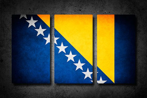 Bosnia and Herzegovina Metal Flag Triptych by Austinspire on Etsy, $59.00