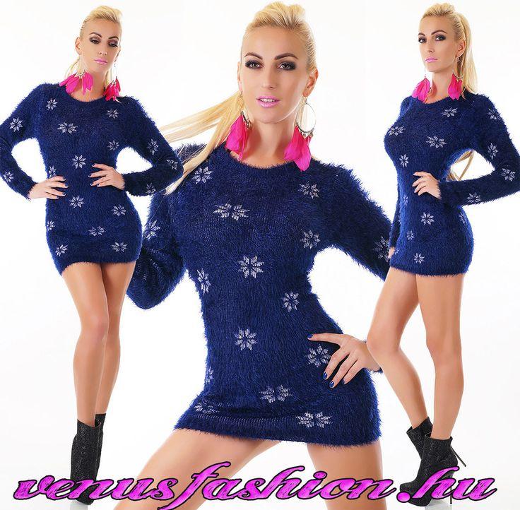 Divatos bolyhos női pulóver hópehely mintával - Venus fashion női ruha webáruház