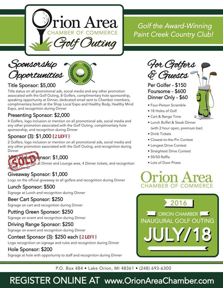 "Sponsorships are open for the 2016 Orion Area Chamber of Commerce Golf Outing! Join us for the 1st annual Golf Outing at the beautiful Paint Creek Country Club!  Golf package includes lunch, drink tickets, steak dinner, open bar and 18 holes on the ""Best Of"" golf course in Lake Orion! $150/golfer, multiple sponsorship levels available, more details and registration information to come."