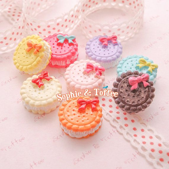 Macaroon with Ribbon Sweets Deco Kawaii Cabochon Decoden Pieces Kawaii Cabochon - 8pcs