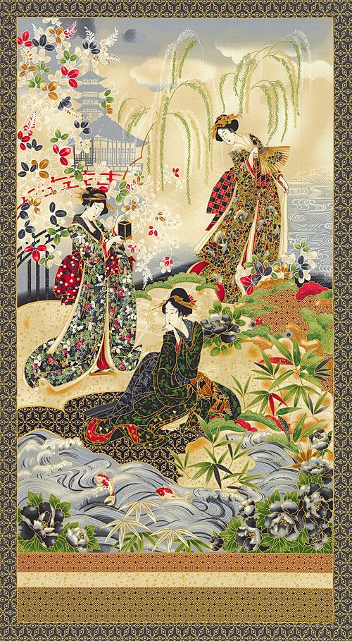 Bad taste Asian quilting fabric panels are