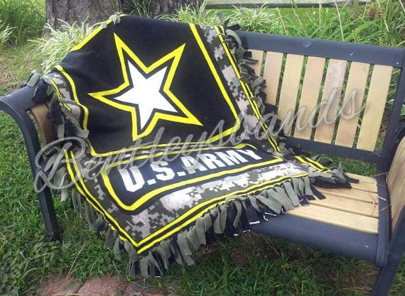 US Army Fleece Tie Blanket Throw 48 x 60 by Bentleysbands on Etsy, $42.00