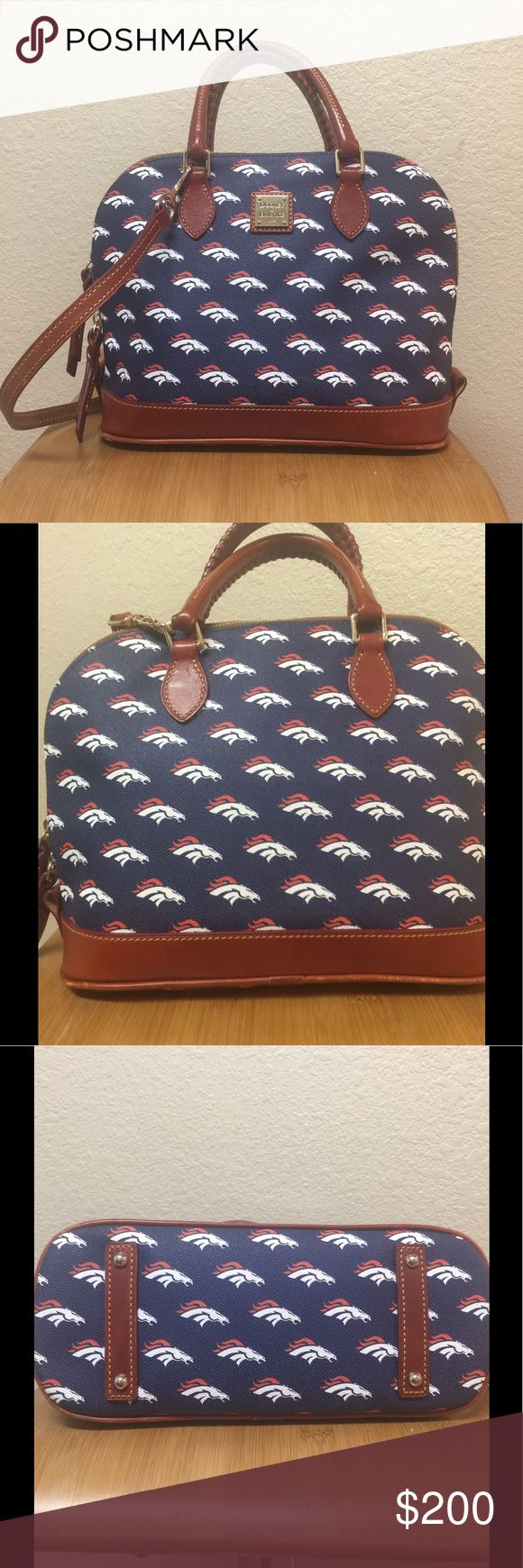 Dooney & Bourke Denver Broncos Satchel Dooney & Bourke NFL Denver Broncos Satchel. Used last season and still in good condition!!!! Other than normal use, it was well cared for!!! The most signs of use are in the bottom edges and a few scratches on D&B emblem. I have another set I am using and would like another Broncos fan to enjoy this beauty!! I do have it priced high for negotiation through offer feature!! Dooney & Bourke Bags