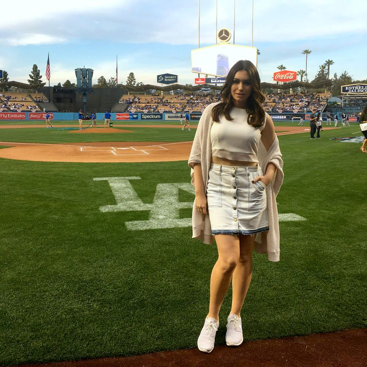 Sophie Tweed-Simmons at Dodgers stadium after her performance.