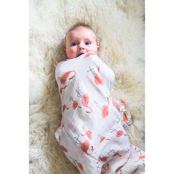 Dancing Flamingos 100% Bamboo Swaddle Blanket for sensitive skin and eczema babies
