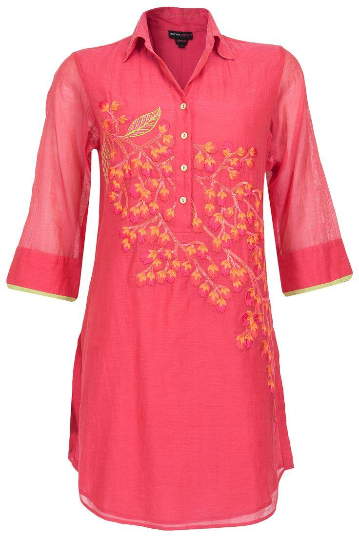Cherry blossom tunic BY NAMRATA JOSHIPURA. Shop now at perniaspopupshop.com #perniaspopupshop #clothes #womensfashion #love #indiandesigner #NAMRATAJOSHIPURA #happyshopping #sexy #chic #fabulous #PerniasPopUpShop #quirky #fun