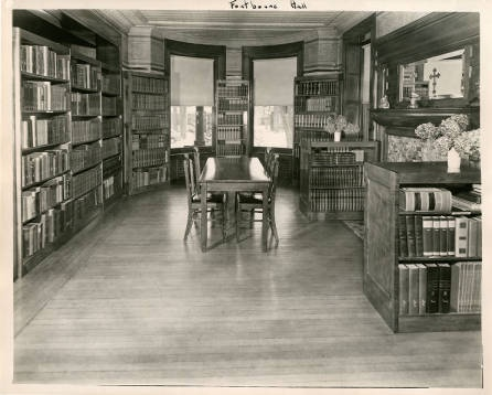 In 1950, the library was in Fontbonne Hall! This is now a triple occupancy room in the all-female residence hall.  Photo Credit:  http://strosearchives.contentdm.oclc.org/cdm/singleitem/collection/p16074coll6/id/102/rec/101