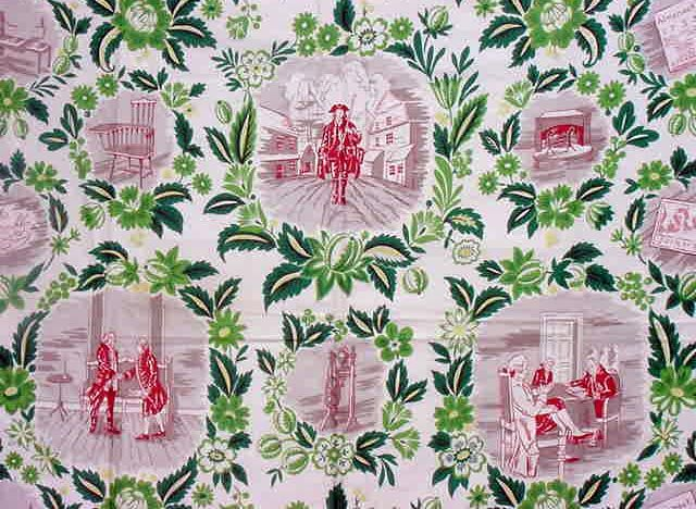 """We love scientific fabrics - toile for all! """"Benjamin Franklin"""" a 1952 Waverly Bonded Fabric"""