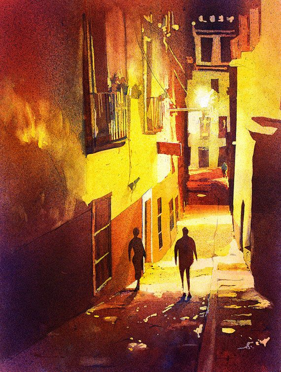 Watercolor painting of alleyway in the UNESCO World
