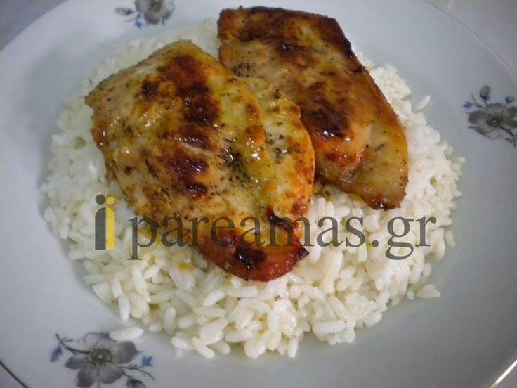 Μεθυσμένο κοτόπουλο με ρύζι.