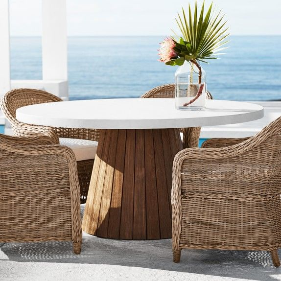 Balboa Outdoor Round Dining Table In, Round Outdoor Dining Tables